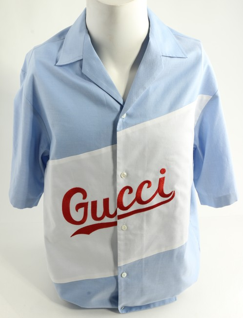 Item - Blue/White/Red Oversize Bowling with Script Shirt