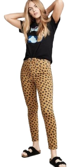 Item - Yellow Light Wash Egyptian Gold Painted Spots Skinny Jeans Size 24 (0, XS)