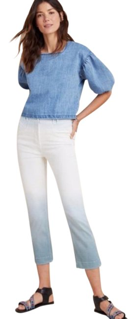 Item - White/Blue Light Wash Anthro Pilcro High Rise Dip Dyed Relaxed Fit Jeans Size 26 (2, XS)