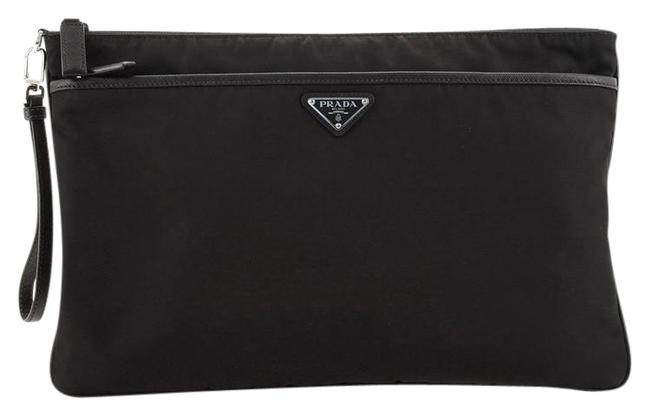 Item - Clutch Front Pocket Tessuto with Saffiano Large Black Leather and Nylon Wristlet