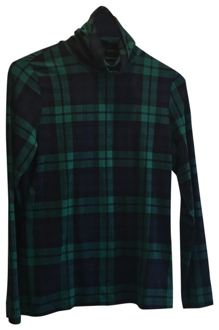 Item - Turtleneck Navy and Green Plaid Sweater