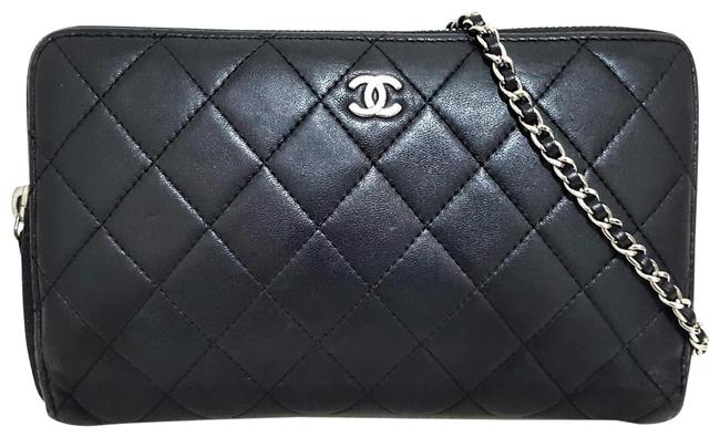 Item - Black Silver Matelasse Quilted Zipper Large Lambskin Phone Holder Coin Card Wallet