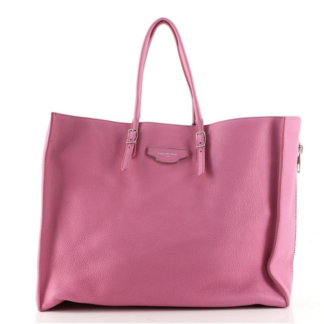 Item - Papier Zip Around Plate Large Pink Leather Tote