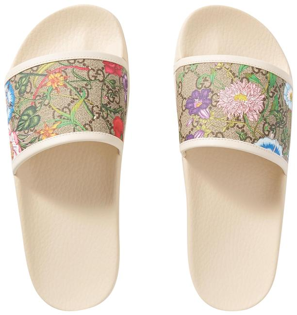 Item - White Pursuit Gg Leather-trimmed Printed Rubber Slides Sandals Size EU 38 (Approx. US 8) Regular (M, B)