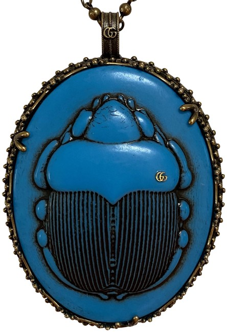 Item - Gold Blue Resin Scarab Beetle Cameo Huge Long Pendant Chain Necklace