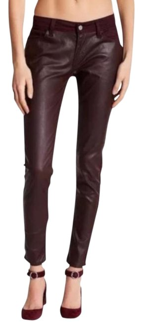 Item - Red Medium Wash Faux Leather Super Skinny Jeans Size 29 (6, M)