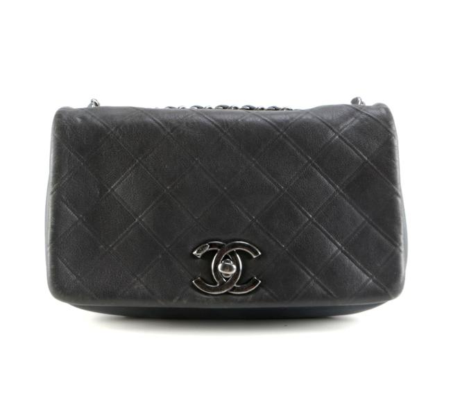 Item - Classic Flap New Chic Diamond Quilted Bicolor Medium Charcoal Grey Leather Shoulder Bag