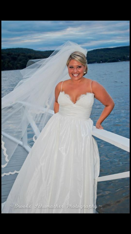 Amsale Ivory Silk Taffeta Coco 151693 Wedding Dress Size 12 (L ...