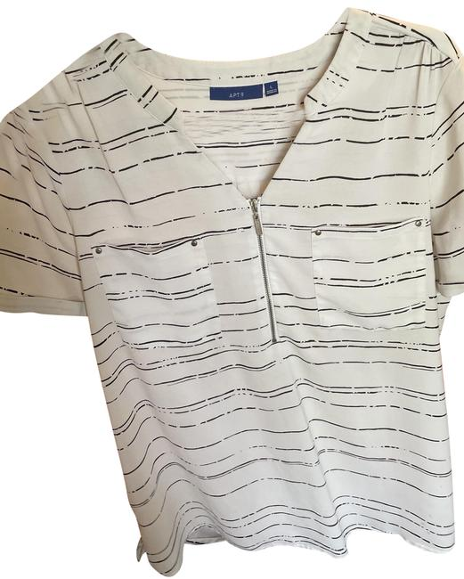 Item - White with Black Lines and Silver Details Stay Cool Blouse Size 14 (L)