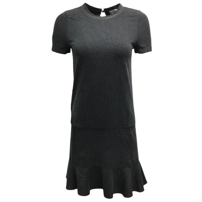Item - Charcoal Grey Sleeved Cotton Short Casual Dress Size 0 (XS)