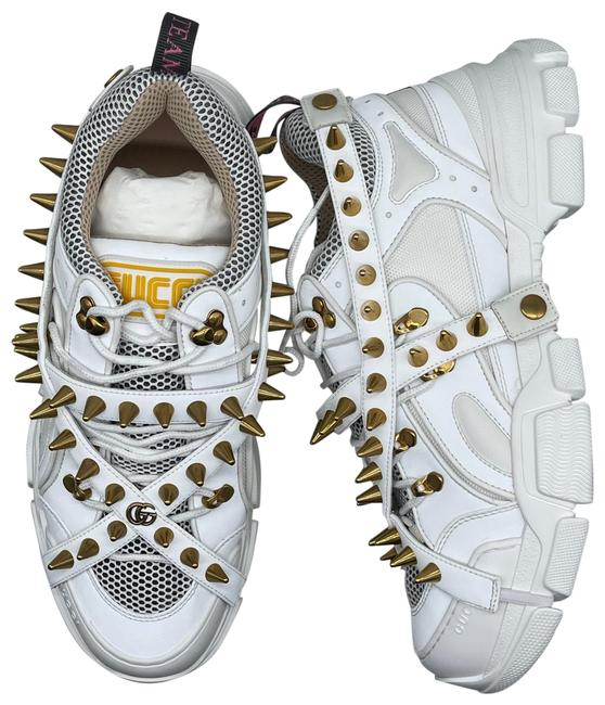 Item - White & Gold Flashtrek with Spikes Sneakers Size US 12 Regular (M, B)