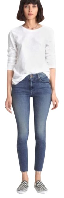 Item - Blue Medium Wash The Looker Ankle Fray Skinny Jeans Size 27 (4, S)