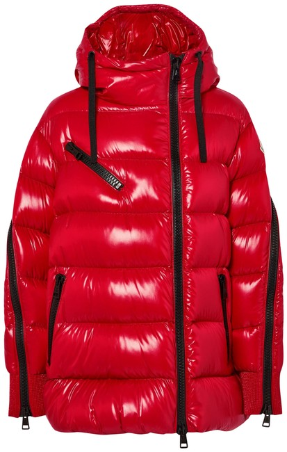 Item - Red Liriope Hooded Quilted Glossed-shell Down Jacket Size 8 (M)