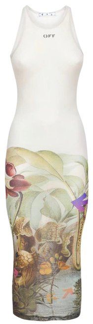Item - White Multi Botanical Basic In Off-white Mid-length Night Out Dress Size 4 (S)