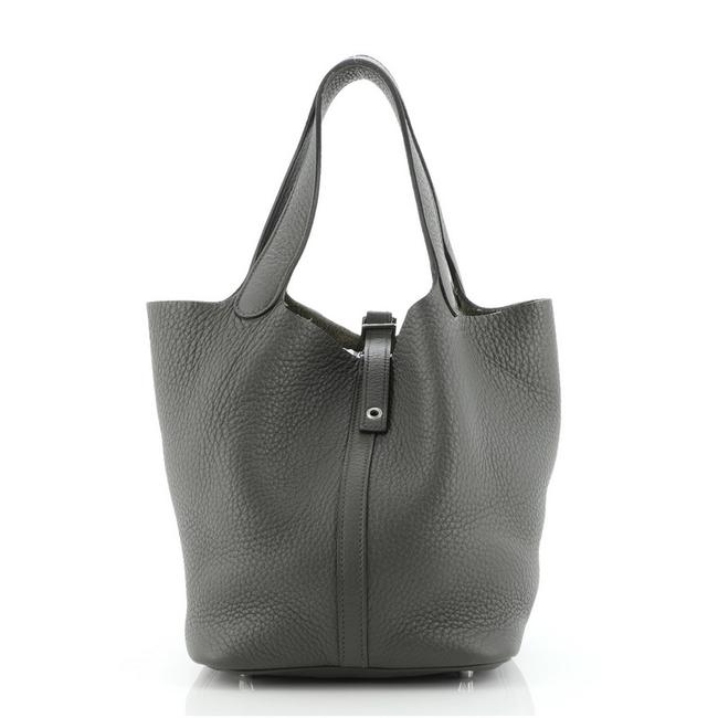 Item - Picotin Lock Clemence Mm Green Leather Tote
