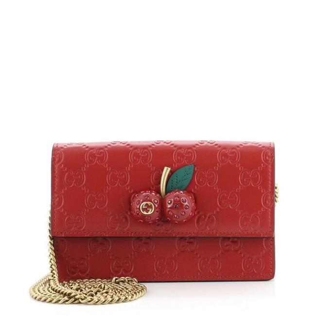 Item - Wallet on Chain Cherries ssima Mini Red Leather Cross Body Bag