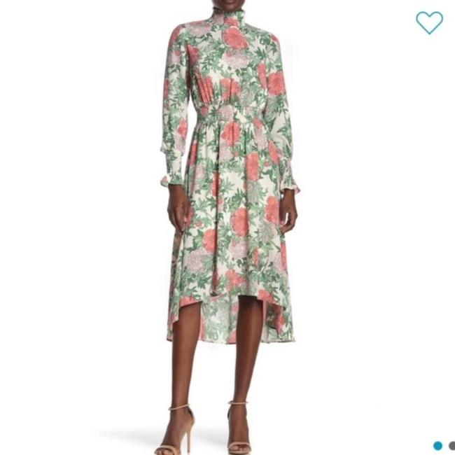 Item - Off White Floral High Low Midi Mid-length Cocktail Dress Size 2 (XS)