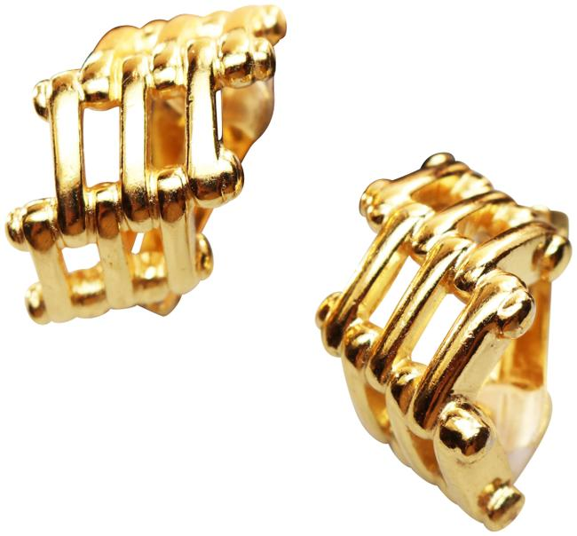 Item - Gold Vintage Christian Bamboo Cage Earrings