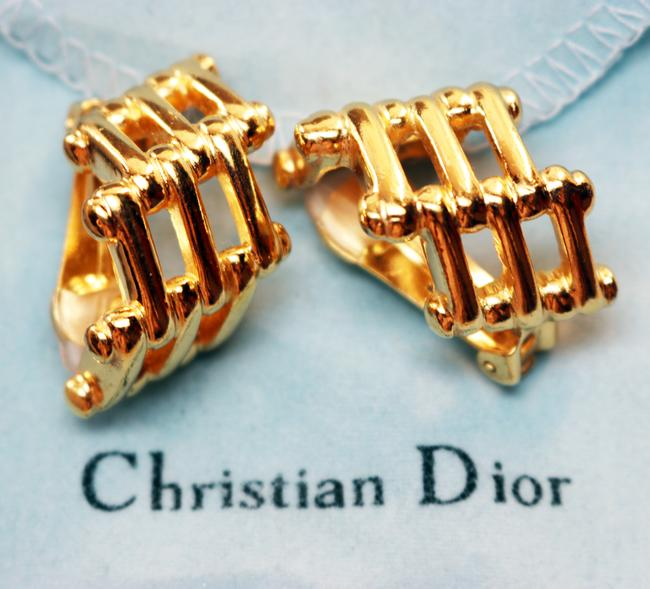 Dior Gold Vintage Christian Bamboo Cage Earrings Dior Gold Vintage Christian Bamboo Cage Earrings Image 12