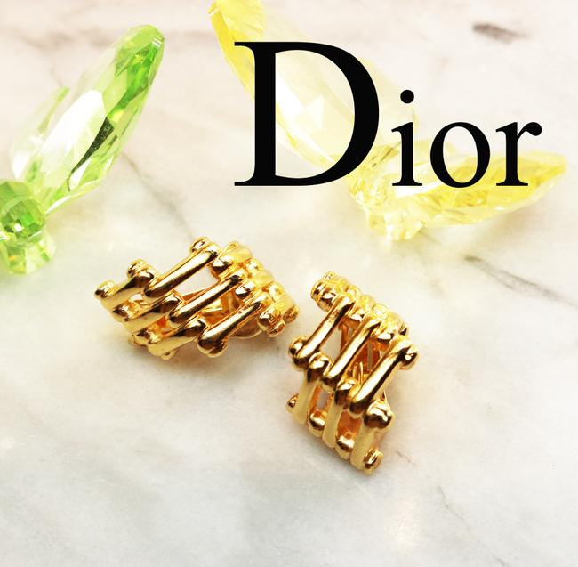 Dior Gold Vintage Christian Bamboo Cage Earrings Dior Gold Vintage Christian Bamboo Cage Earrings Image 4