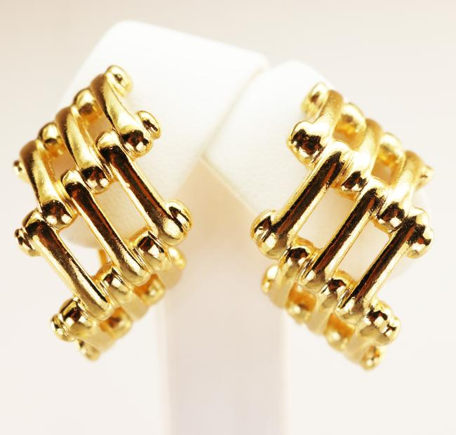 Dior Gold Vintage Christian Bamboo Cage Earrings Dior Gold Vintage Christian Bamboo Cage Earrings Image 8
