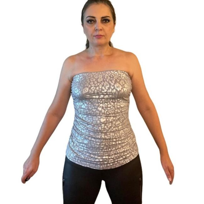 Item - Gray and Silver Cheetah Ruched Strapless Tube M Blouse Size 10 (M)