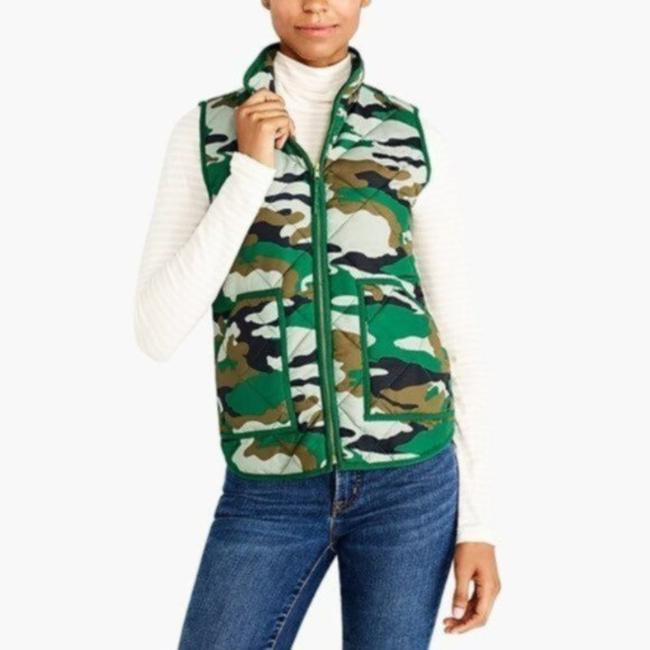 Item - Green Mercantile Printed Quilted Puffer Camo Vest Size 6 (S)