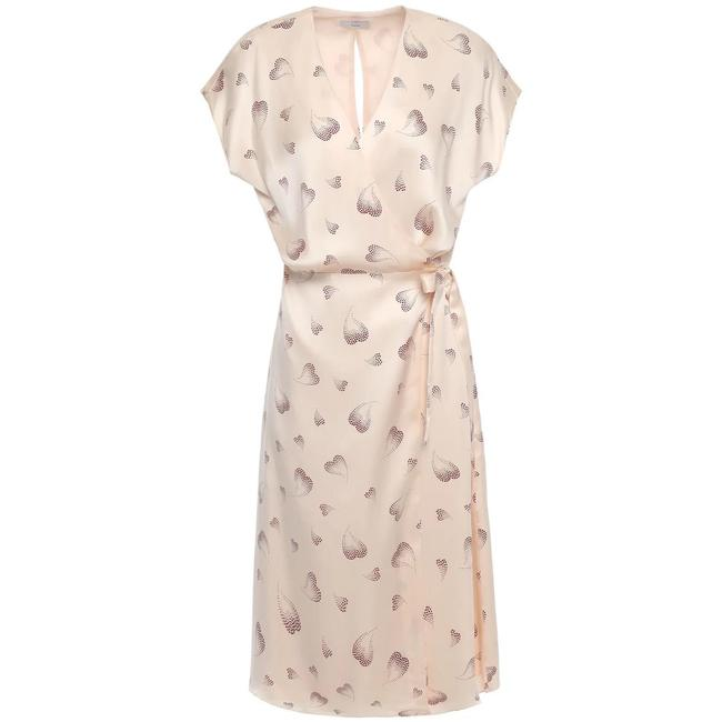 Item - Cream Red B Silk In Frappe Heart Print Mid-length Short Casual Dress Size 8 (M)