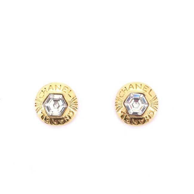 Item - Gold Vintage Hexagonal Round Clip-on Metal with Crystal Earrings