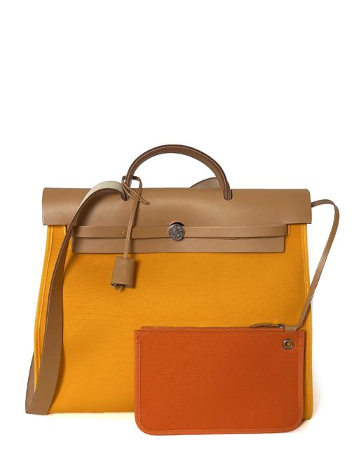Item - Herbag Jeune D'or Toile Leather Zip 39 Yellow Canvas Tote