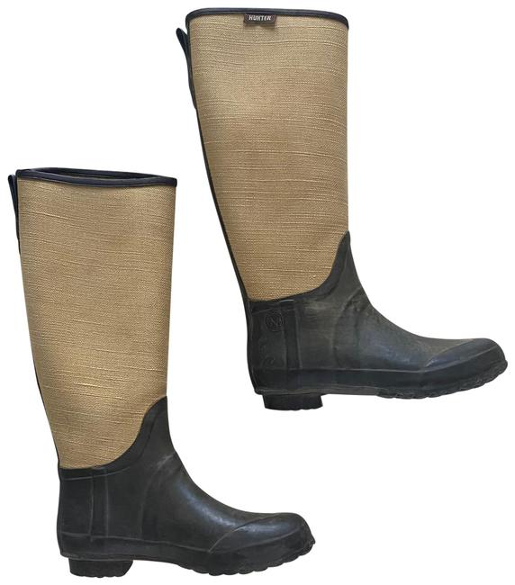 Item - Gray and Beige Lady N Riding Canvas Leather Rubber Boots/Booties Size US 7 Regular (M, B)