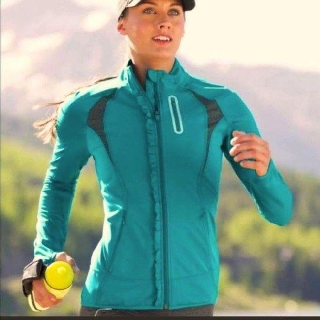 Item - Teal Gray Full Zip Ruffle Front Activewear Outerwear Size 4 (S)