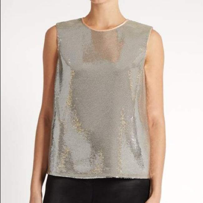 Item - Silver Sequin Silk Tank Blouse Size 4 (S)