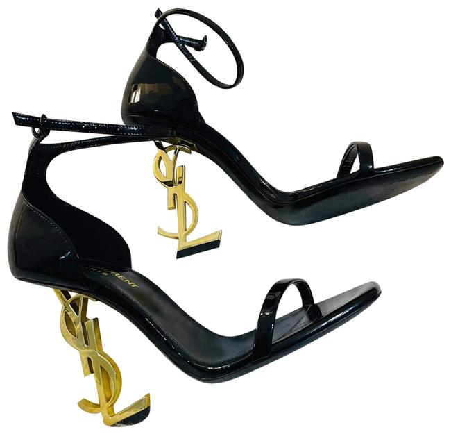 Item - Black Opyum Sandals In Patent Leather with A Gold Toned Heel Pumps Size US 5.5 Regular (M, B)