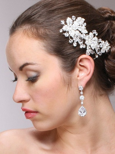 Silver Best-selling Pear-shaped Drop with Pave Cz Earrings Image 1
