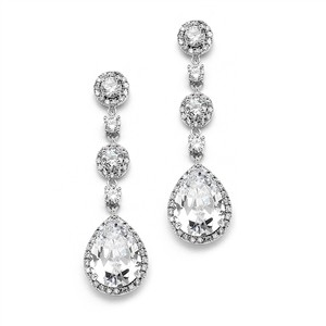 Silver Best-selling Pear-shaped Drop with Pave Cz Earrings