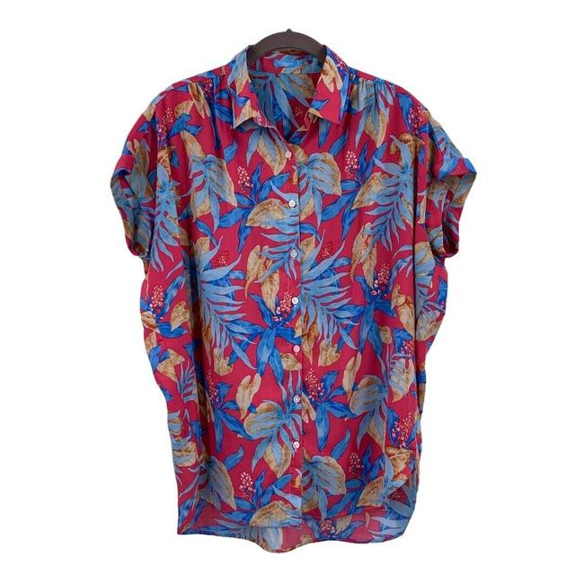 Item - Pink Hawaiian Button-down Top Size 4 (S)