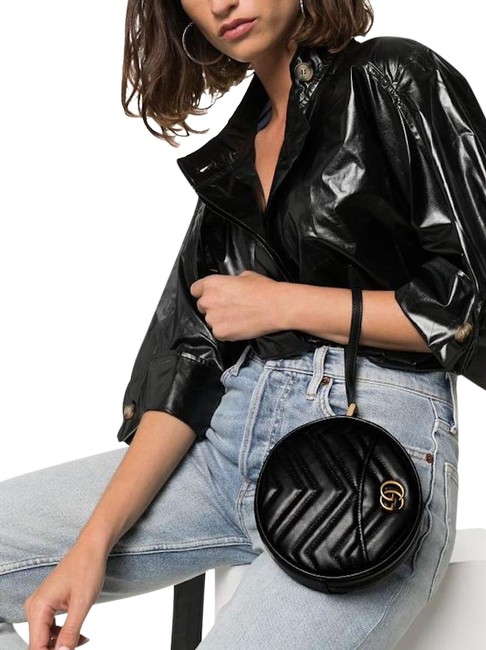 Item - Marmont Wrist Strap Pouch Black Leather Tote