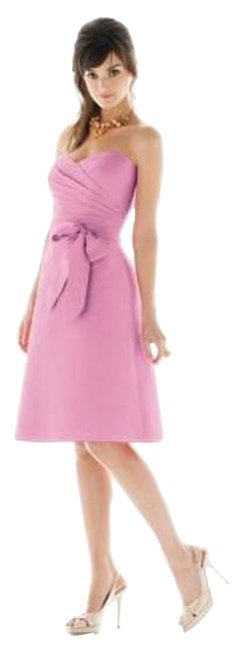 Alfred Sung Tea Length Strapless Dupioni Pink Dress