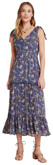 Item - Blue New Ranna Gill Lyndsey Shimmer Floral Long Casual Maxi Dress Size 6 (S)
