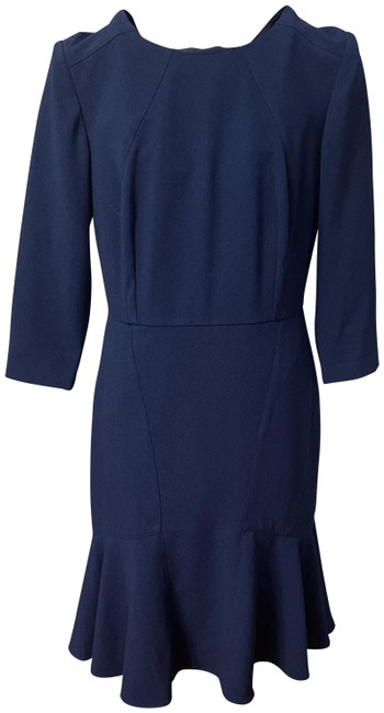 Item - Dark Blue Fitted Mid-length Work/Office Dress Size 6 (S)