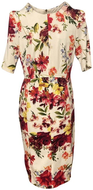 Item - Cream and Red Floral Body Con Mid-length Work/Office Dress Size 6 (S)