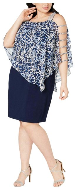 Item - Navy Embellished Printed Square Mid-length Cocktail Dress Size 26 (Plus 3x)