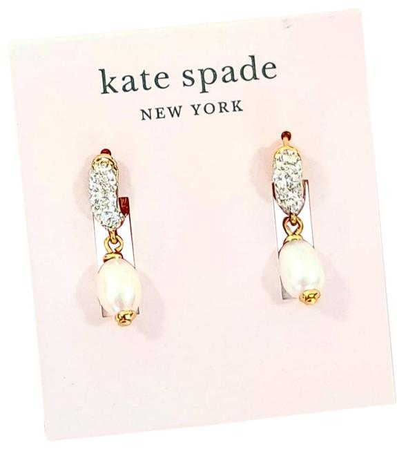 Item - Gold White & Silver Pearl Power Pave Drop Huggies Earrings