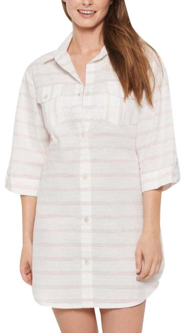 Item - White Shirtdress Radiance Striped Small Cover-up/Sarong Size 6 (S)