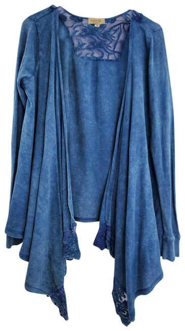 Item - Blue Waffle Knit Lace Waterfall Long Sleeve Open Front Cardigan Size 12 (L)