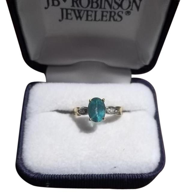 Item - Blue Silver Gold 10k Rich Topaz with Diamonds Ring
