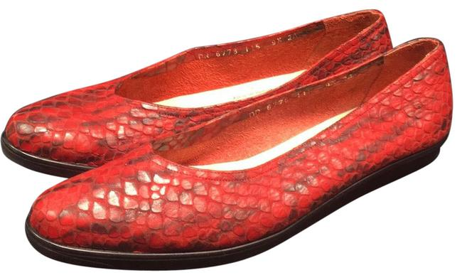 Item - Red Leather Snake Print Ballet Flats Size US 9.5 Narrow (Aa, N)
