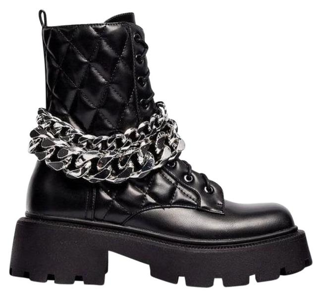 Item - Black Chunky Chain Quilted Biker Boots/Booties Size US 6 Regular (M, B)