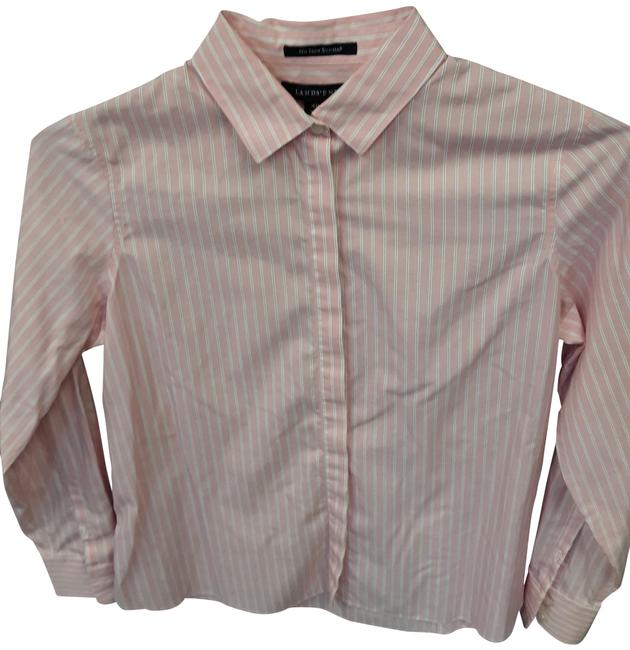 Item - Pink & Gray Striped Supima Cotton Button-down Top Size Petite 4 (S)